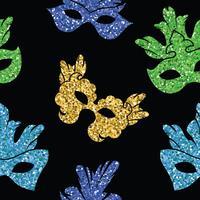 Sömlöst mönster med glitterkarnevalsmask. vektor