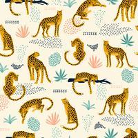Vestor sömlöst mönster med leoparder och abstrakta tropiska löv. vektor