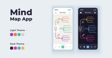 Brainstorming-Tool Cartoon Smartphone-Schnittstelle Vektor-Vorlagen eingestellt. Mindmap. Design der mobilen App-Bildschirmseite im Nacht- und Tagmodus. visuelle Informationspräsentations-UI für die Anwendung. Telefondisplay vektor
