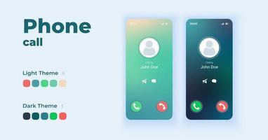 Eingehender Anruf, der auf dem Bildschirm Cartoon Smartphone-Schnittstellenvektorvorlagensatz anzeigt. Design der mobilen App-Bildschirmseite im Nacht- und Tagmodus. Empfangen und Ignorieren von Anrufen ui für die Anwendung. Telefondisplay vektor