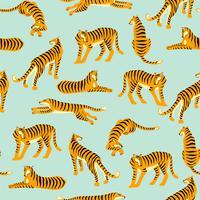 Sömlöst exotiskt mönster med tigrar. Vektor design.