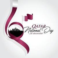 Katar-Nationalfeiertag mit Wahrzeichen und Flaggenvektorillustration vektor
