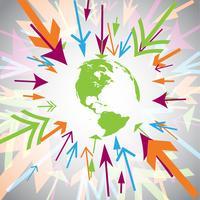 Jorden med färgglada pilar vektor