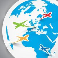 Papiervektorflugzeuge und Erde