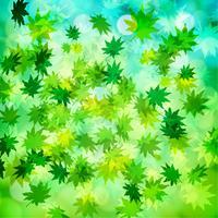 Grünblätter und Bokehvektorhintergrund vektor