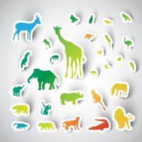 Zoo klistermärke djur samling, vektor