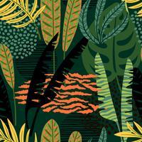 Abstrakt sömlöst mönster med tropiska löv. vektor