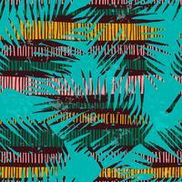 Abstrakt sömlöst mönster med tropiska löv. Hand rita textur. vektor