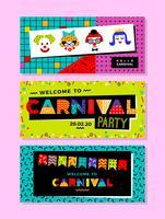 Karnevalsvorlagen im Memphis-Stil. vektor