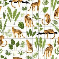 Vestor nahtloses Muster mit Leoparden und tropischen Blättern.