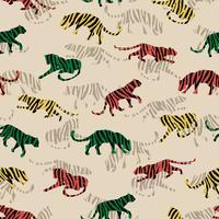 Seamless exotiskt mönster med abstrakta silhuetter av tigrar.