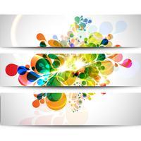 Set med tre färgstarka banderoller vektor
