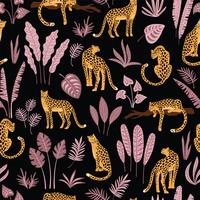 Vestor sömlöst mönster med leoparder och tropiska löv.