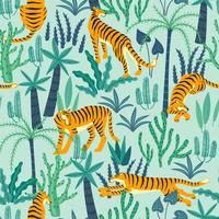 Seamless exotiskt mönster med tigrar i djungeln.