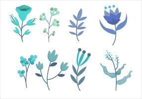 Blaue Blumen-Blumenblätter Clipart-gesetzte Vektor-Illustration vektor