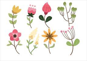 Blomma Leaf Clipart Ställ Vektor Illustration