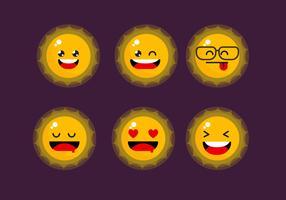 Cute Sun Emoticon Clipart Ställ Vektor Illustration