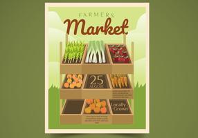 Flygblad Design Farmers Market Vector Illustration