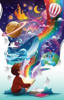 glücklicher Tag der Alphabetisierung mit einem Jungen, der Bücher liest vektor