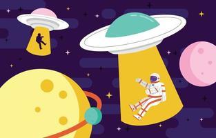 UFO mit Astronaut im Weltraumkonzept vektor