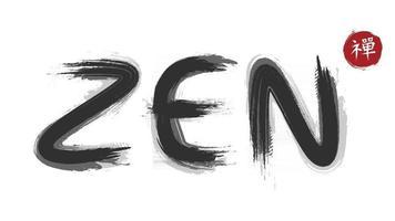 Zen-Charakter-Überschrift mit Grunge-Tinte-Aquarell-Malstil. Kanji kalligraphisches Chinesisch. japanisch. Alphabet-Übersetzung bedeutet Zen. Vektor-Illustration. vektor
