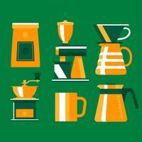 Flacher Kaffee-Element Clipart gesetzter Vektor