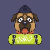 Hipster Mops Hund und Skateboard vektor