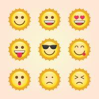 Emoticon Sun Themensammlung vektor