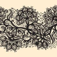 Nahtloses Muster des abstrakten Spitzebandes mit Elementblumen. vektor