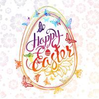 Aufschrift fröhliche Ostern um mehrfarbige Schmetterlinge des Aquarells