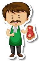 Aufklebervorlage mit einem Fleischverkäufer-Mann-Cartoon-Charakter isoliert vektor