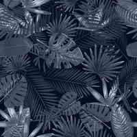 Seamless mönster med tropiska palmblad på svart bakgrund