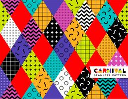 Nahtloses Muster des Karnevals im Memphis-Stil. vektor