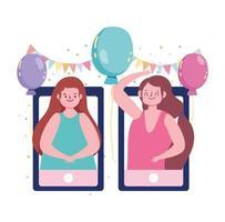 Online-Party, verbundene Mädchen mit Telefonen und Luftballons Wimpeldekoration vektor