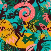 Brasilien Karneval. Nahtloses Muster des Vektors mit modischen abstrakten Elementen vektor