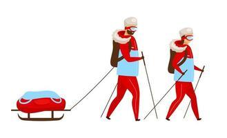 Trekking-Team flache Farbvektorillustration. Rucksacktouristen mit Schlitten Nordic Walking. Entdecker wandern. arktische Expeditionsgruppe. Frau und Mann isoliert Cartoon-Figur auf weißem Hintergrund vektor