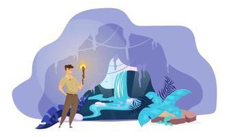 flache Vektorillustration des Forschers. Mann entdeckt versteckten Wasserfall. männliche Suche im Bergtunnel. Junge steht mit Fackel in der Höhle. fantastische Naturszene. touristische Zeichentrickfigur vektor
