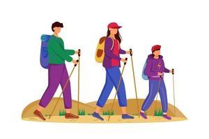 Budget-Tourismus-flache Vektor-Illustration. Wanderaktivität. günstige Reisewahl. Aktivurlaub. Familie auf einer Bergtour. Rundgang isolierte Zeichentrickfigur auf weißem Hintergrund vektor