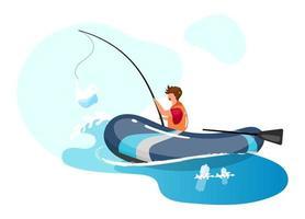 Person, die im Meer voller Müll flaches Konzeptsymbol fischt Müll im Wasser. Meeresverschmutzung. Fischer mit Plastikverpackung auf Stangenaufkleber, Clipart. isolierte Cartoon-Illustration auf weißem Hintergrund vektor