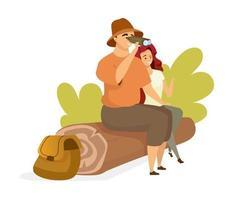 Touristische paar flache Farbvektorillustration. Leute sitzen auf Baumstamm. männlicher Rucksacktourist, der durch ein Fernglas beobachtet. weibliche Wanderer. Mann und Frau isolierte Zeichentrickfigur auf weißem Hintergrund vektor