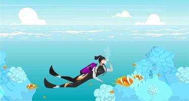Tauchen flache flache Vektorillustration. Unterwasser-Schwimmsportlerin. Tiefseetauchen. Meerestiere. Outdoor-Aktivitäten. Sommerurlaub. Taucher-Cartoon-Figur auf türkisfarbenem Hintergrund vektor