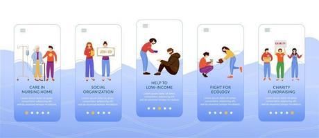 freiwillige Arbeit beim Onboarding der Bildschirmvektorvorlage für mobile Apps. Wohltätigkeitsaktivitäten, ehrenamtliche Walkthrough-Website-Schritte mit flachen Zeichen. ux, ui, gui Smartphone-Cartoon-Schnittstellenkonzept vektor