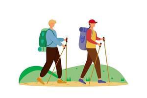 Budget-Tourismus-flache Vektor-Illustration. Wanderaktivität. günstige Reisewahl. Aktivurlaub. Paar auf einer Bergtour. Rundgang isolierte Zeichentrickfigur auf weißem Hintergrund vektor