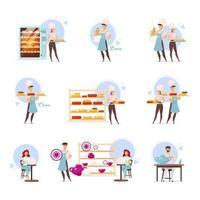Käseherstellung, Bäckerei und Töpferei flache Vektorgrafiken eingestellt. Käser und Bäcker. Nahrungsmittelindustrie. backen Laden. Milchprodukte. handgemachte Tonwaren. Handwerkskunst. isolierte Zeichentrickfiguren vektor