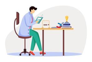 Wissenschaftler an seinem Arbeitsplatz flache Vektorgrafiken. Mann im blauen Laborkittel. Universitätsprofessor. Physiker sitzt und liest Buch isolierte Zeichentrickfigur auf weißem Hintergrund vektor