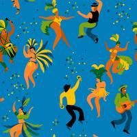 Brasilien karneval. Sömlöst mönster med roliga dansande män och kvinnor i ljusa kostymer. vektor