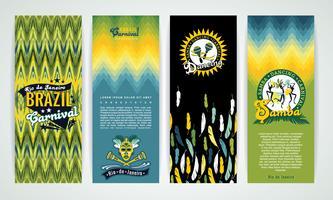 Vertikala banderoller som sätts med Brasilien Carnival Backgrounds. vektor