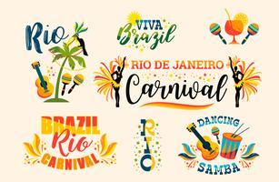 Brasiliansk karneval. Stor uppsättning vektoremblem