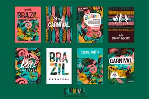 Brasilien karneval. Vektor mallar med trendiga abstrakta element.
