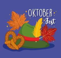 oktoberfestfest, grüner hut mit federbrezel und herbstblättern, feier deutschland traditionell vektor
